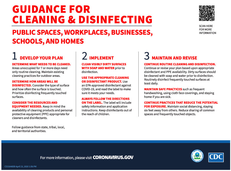 Guidance for cleaning and disinfecting image